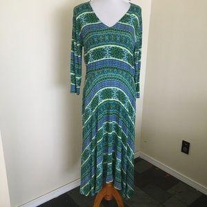Agnes & Dora V-Neck Dress XL Batik Paisley Pockets
